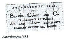 Samuel Cooke and Co (Cooke Fuels) Advertisement from 1883